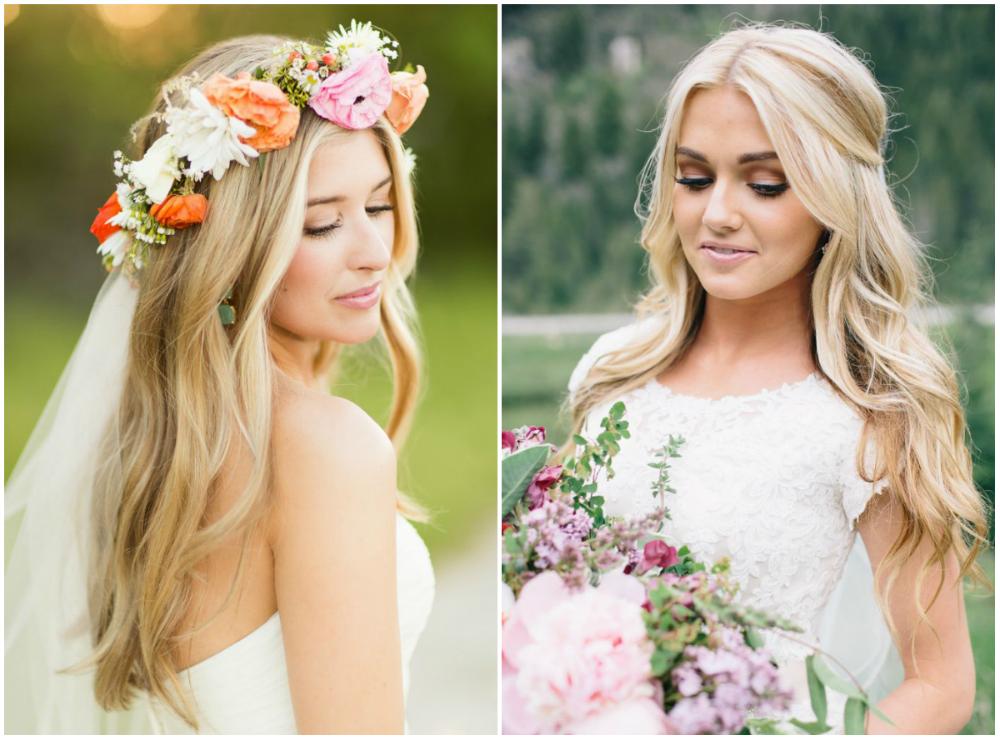 Простые влнистые, опущенные красивые свадебные прически