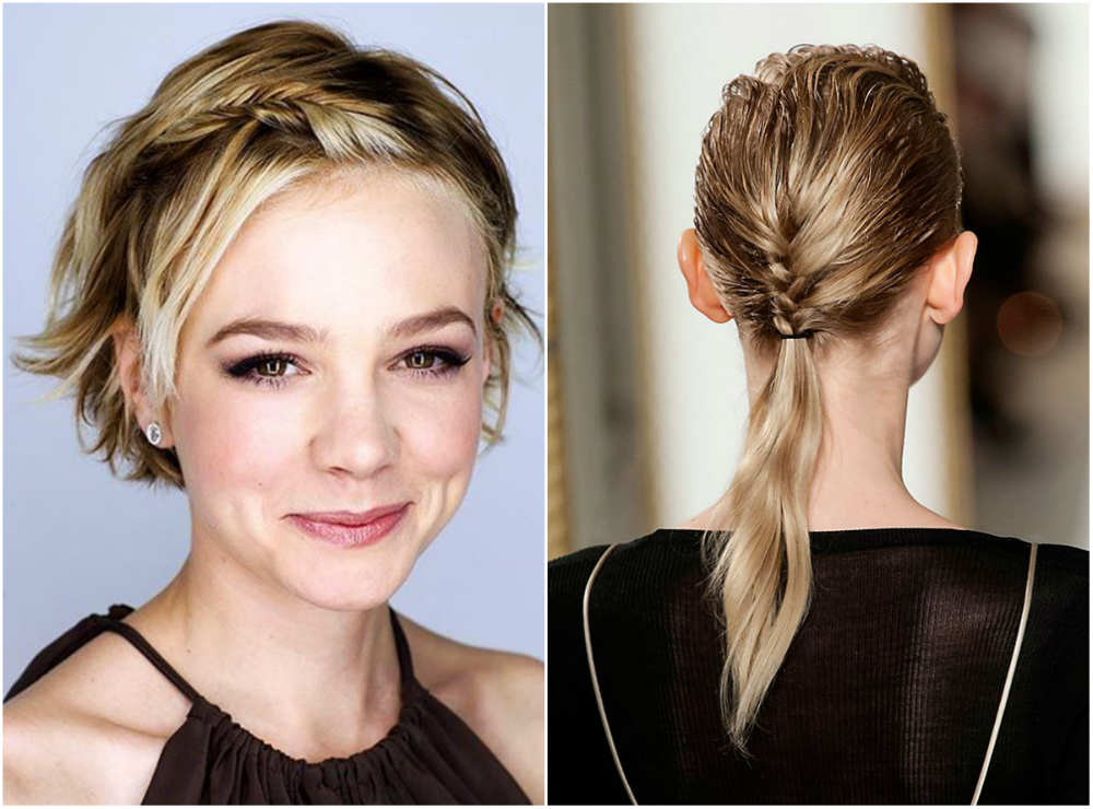 Стильные, сплетенные стрижки для тонких волос 2020 с косичками