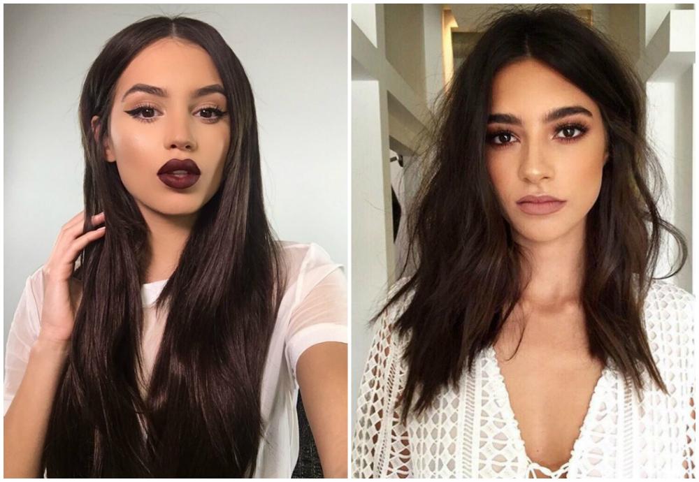 Модные и очень стильные окрашеные темные волосы 2018