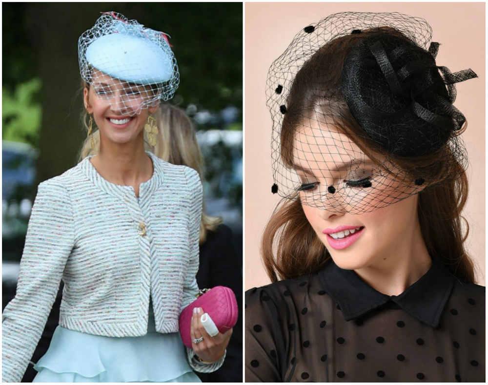 Самые женственные женские головные уборы, завуалированные шляпы