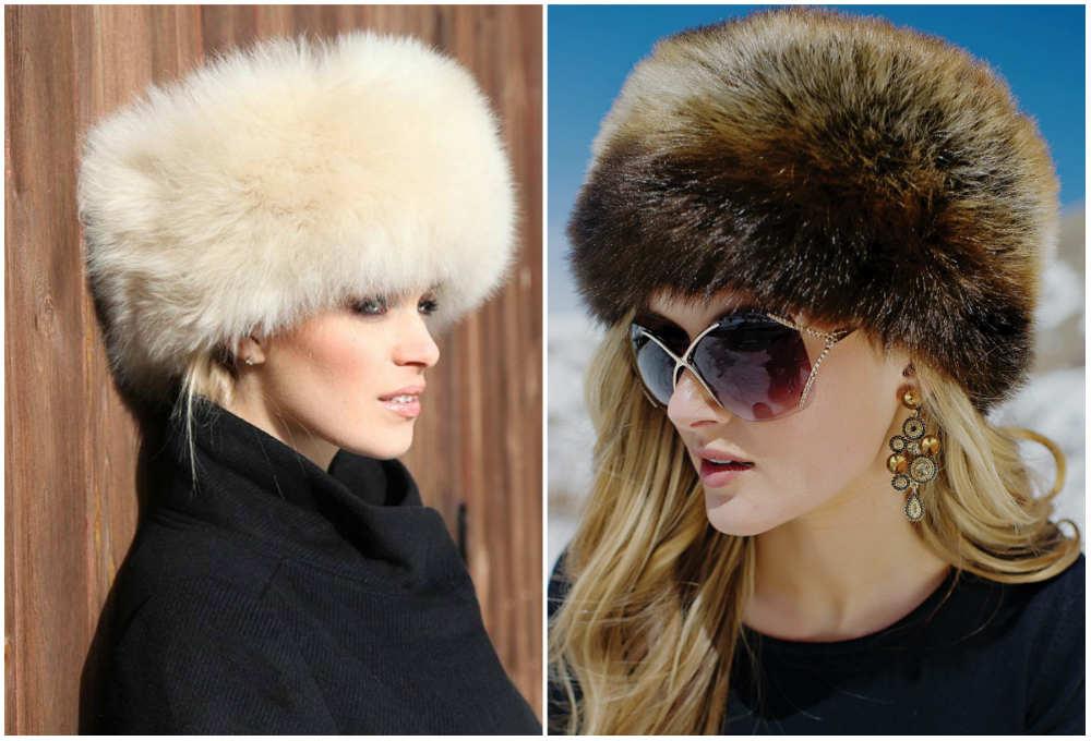 Модные меховые женские головные уборы разных моделей