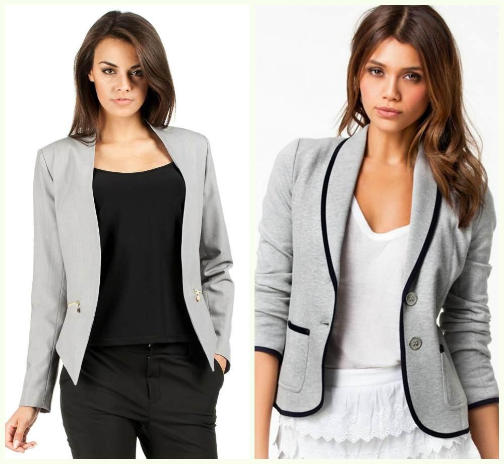 Фешенебельные и красивые женские деловые костюмы, модные блейзеры