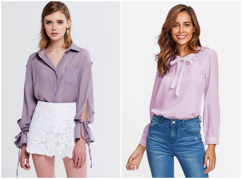 Модные блузки 2018 года, трендовый лиловый цвет для блузок