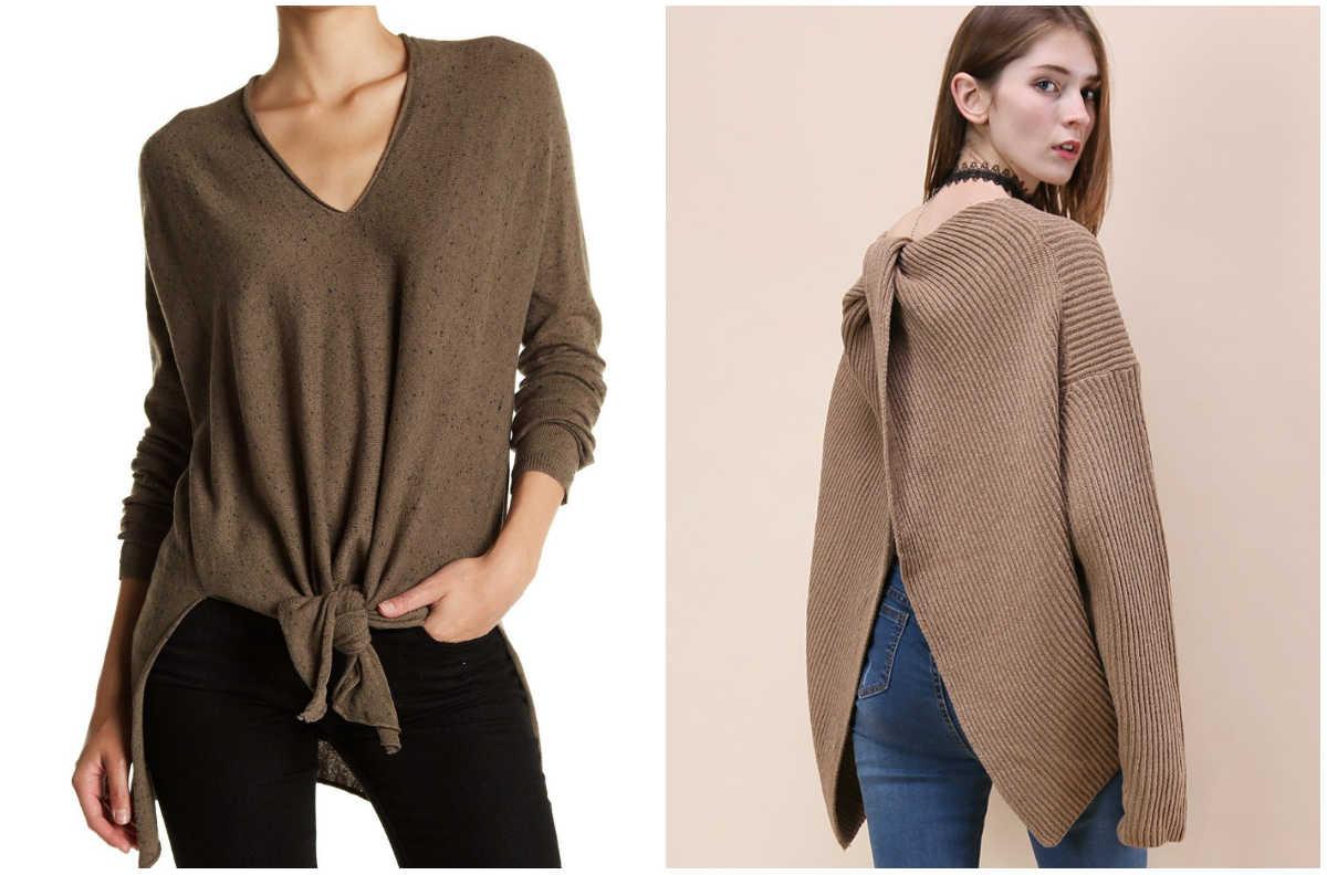 Модные блузки 2018 года, свитера и блузки стрендовыми узлами