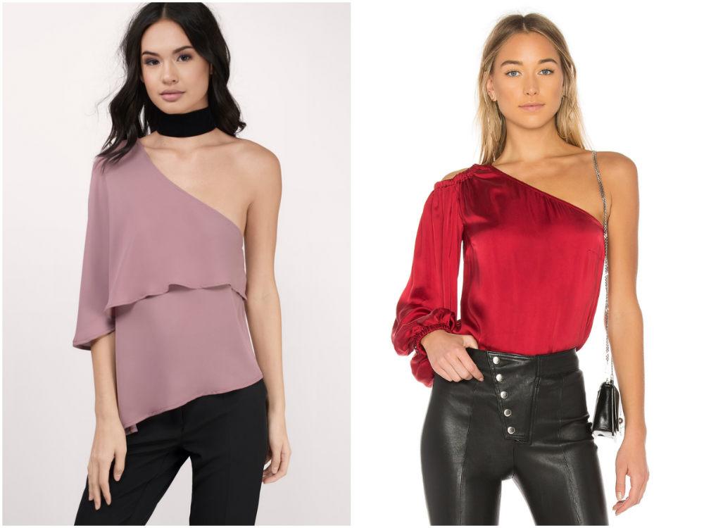 Трендовые, женственные и стильные блузки с одной плечой