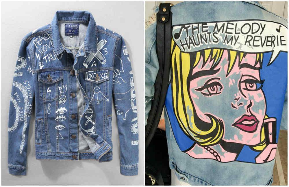 Модные джинсы 2018 года, тренд с графитти разными надписями