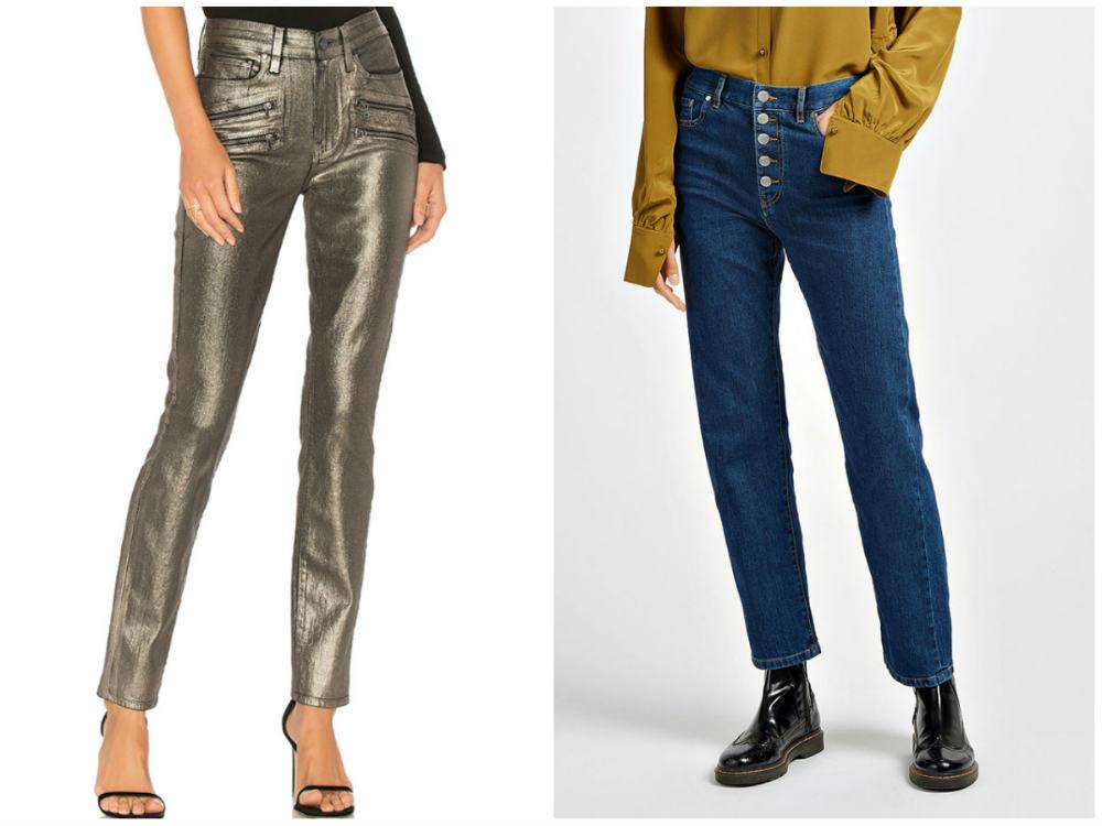 Модные джинсы 2018 года, тренд металлика и традиционный матовый