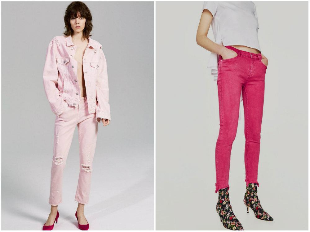 Трендовые и модные джинсы 2018 года бледно и яркорозового цвета