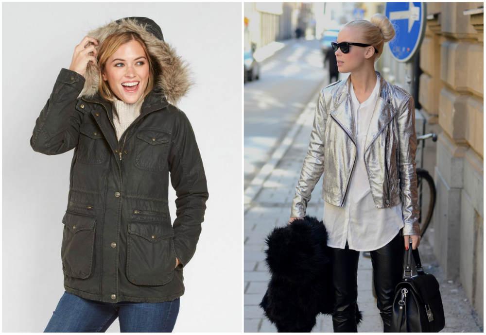 Стильные женские куртки, дизайны с металлическим цветом и краманами