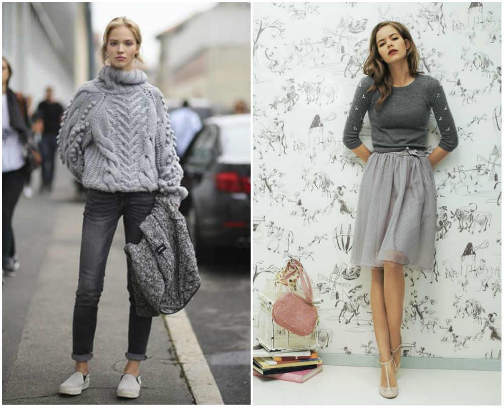 Модные свитера 2020 года, лучшие варианты с классическим серым цветом