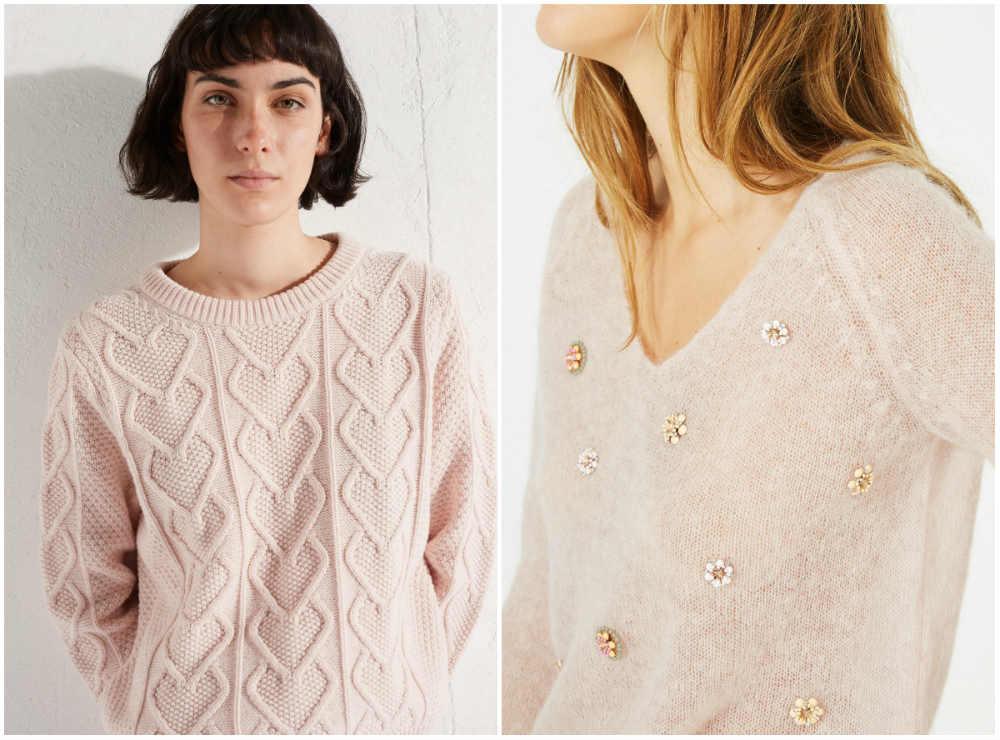 Модные свитера 2020 года с разнообразными сердчками и цветочками