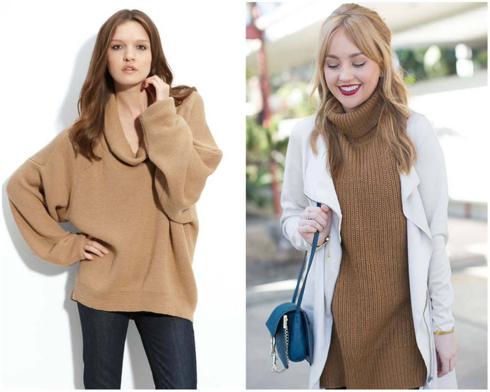 Модные свитера 2020 года очень трендового верблюжего цвета