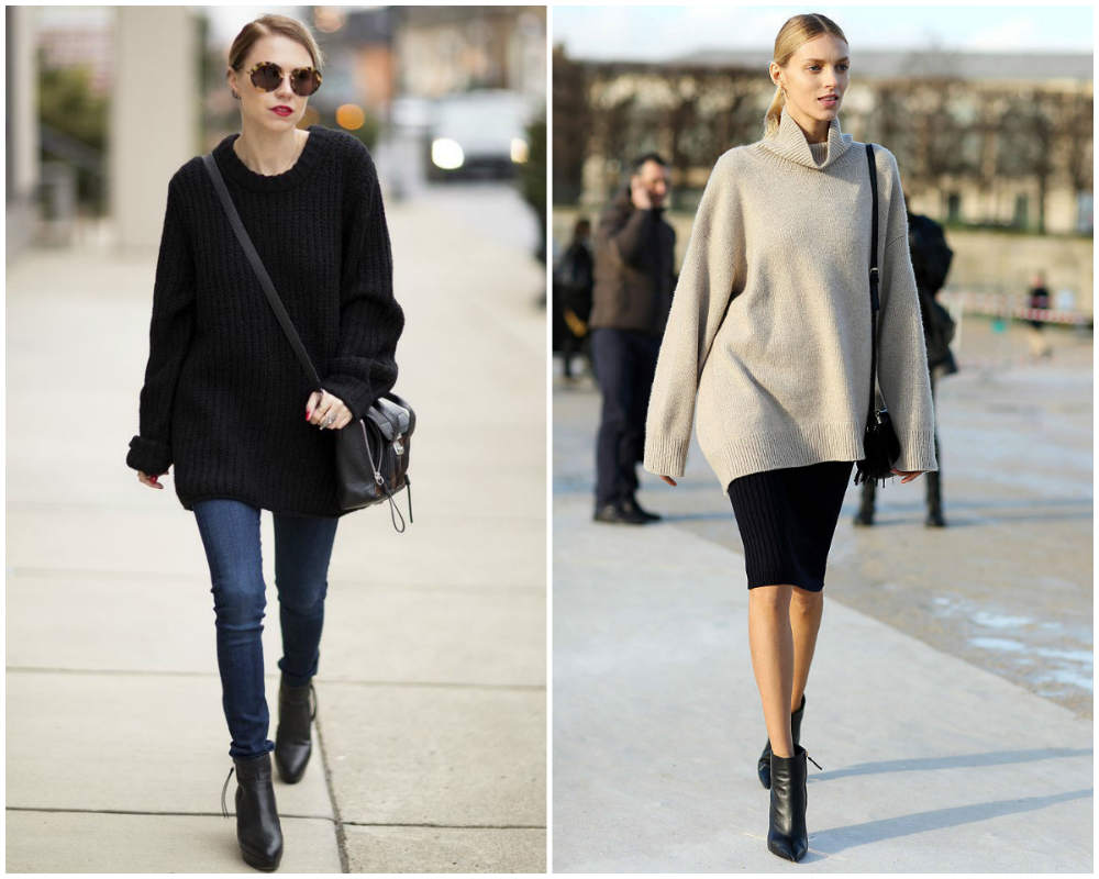 Модные свитера 2020 года, комбинация со стргой юбкой и джинсами