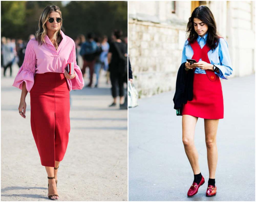 Модные цвета 2018 года, разные сочетаия с вневременным красным цветом
