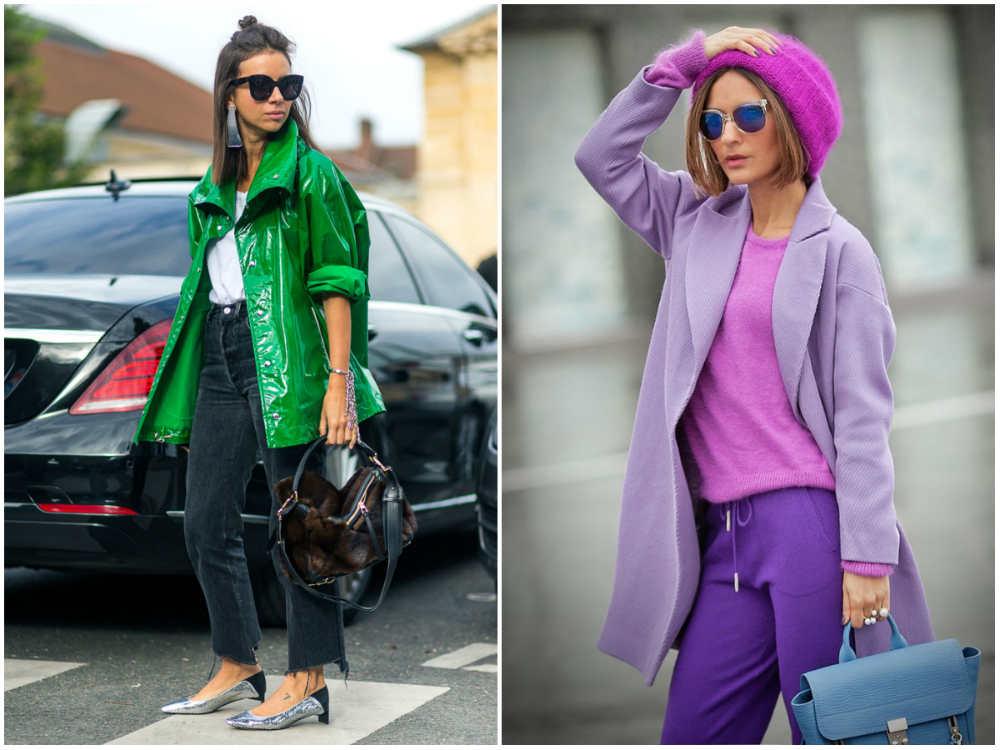 Модные цвета 2018 года, трендовый зеленый и красивый фиолетевый цвета