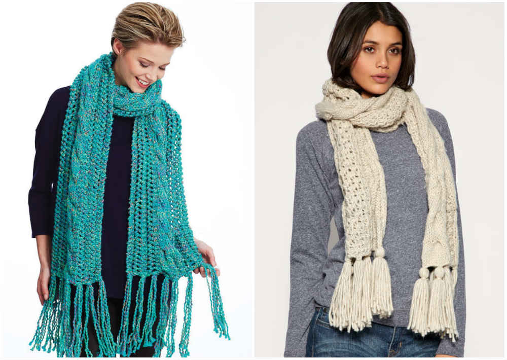 Красивые модные шарфы 2020 года с бахрамой и интересными узорами