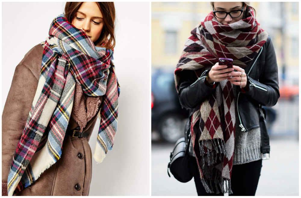 Модные шарфы 2018 года, интересные варианты завязывания шарфа