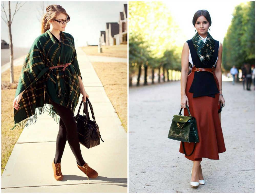Модные шарфы 2020 года, комбинирование шарфа и ремня