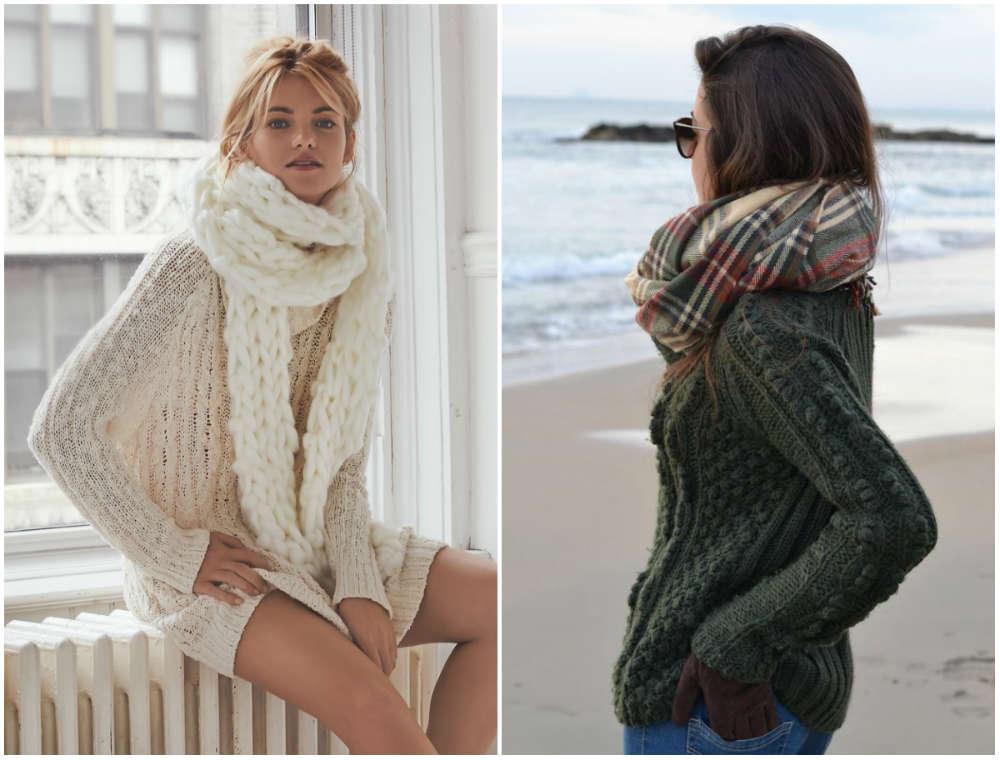 Модные шарфы 2018 года в комбинации с теплыми свитерами