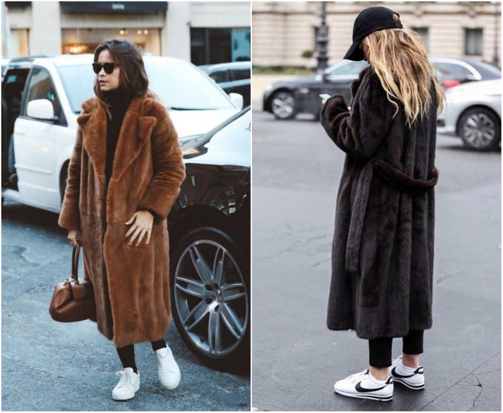 Модные шубы 2020 года, стилное сочетание шуб с кроссовками
