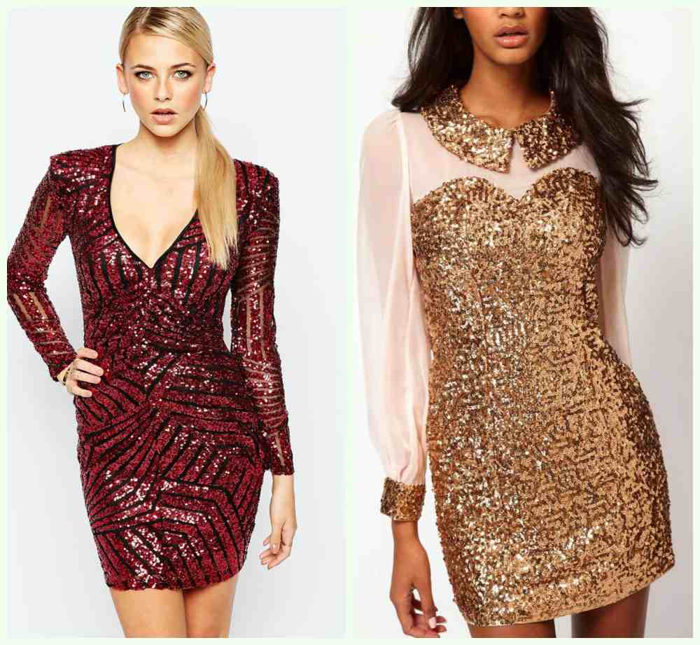 Фешенебельные новогодние платья 2018 года; платья с блестками