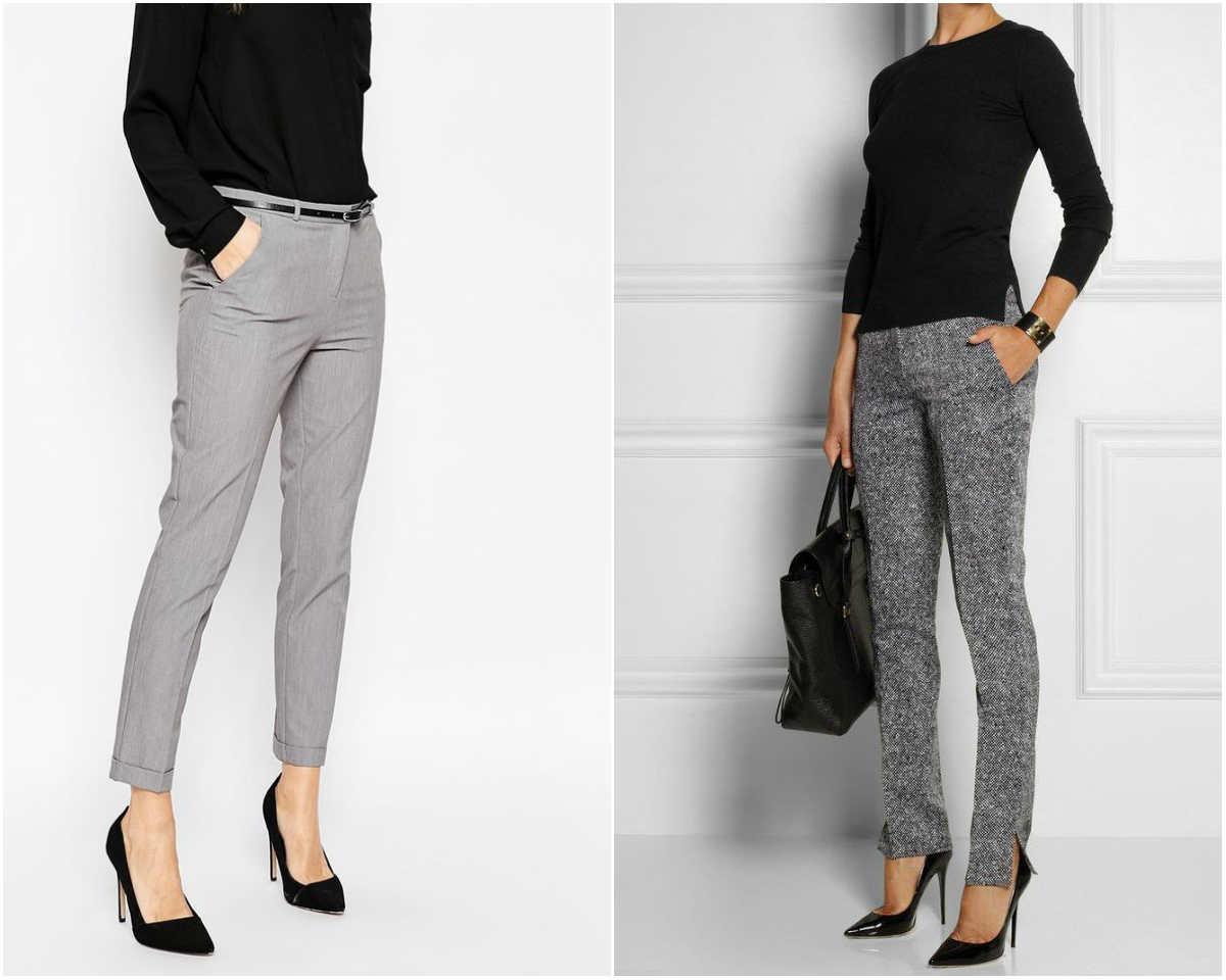 Mодные тенденции брюк 2018 года, серые коротковатые стильные брюки
