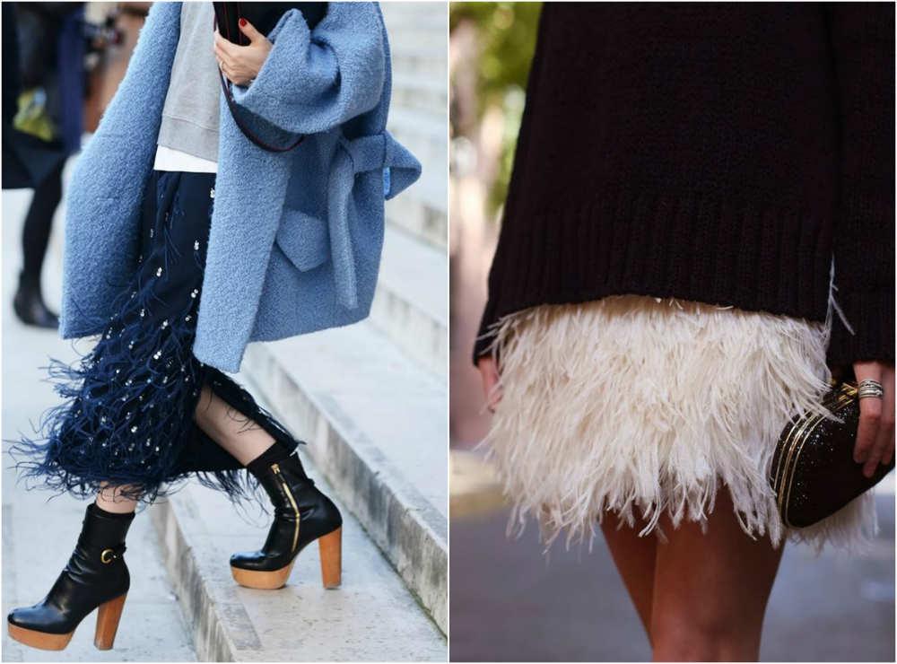 Экстравагантные и нежные модные юбки 2022 года с легкими перьями