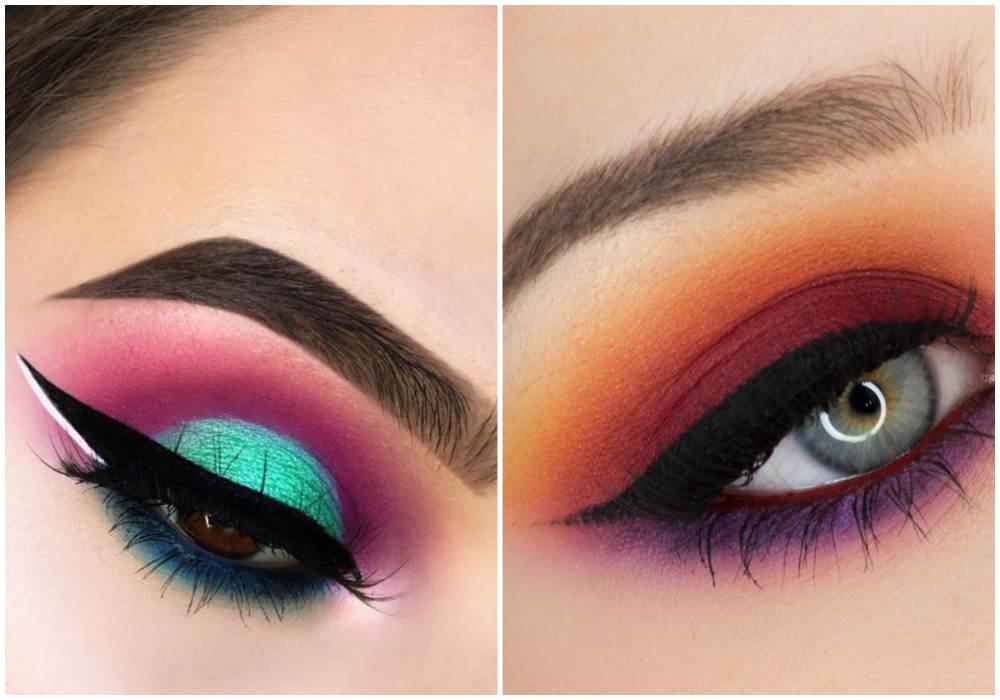 Эксцентричный макияж глаз 2018 года, разноцветные оттенки и варианты
