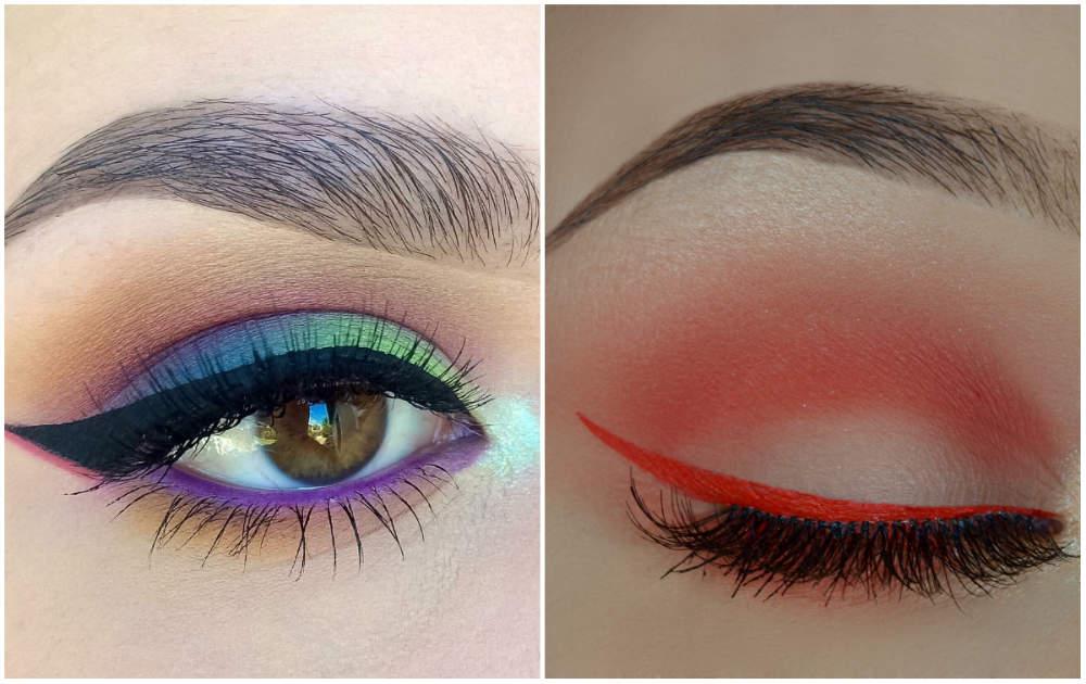 Модный и красивый макияж глаз 2018 года, разноцветная подводка для глаз