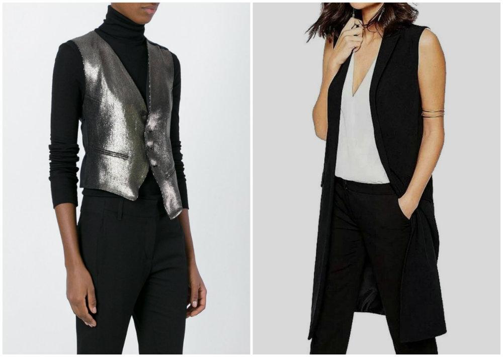 Трендовые черные и металлические модные жилеты для женщин