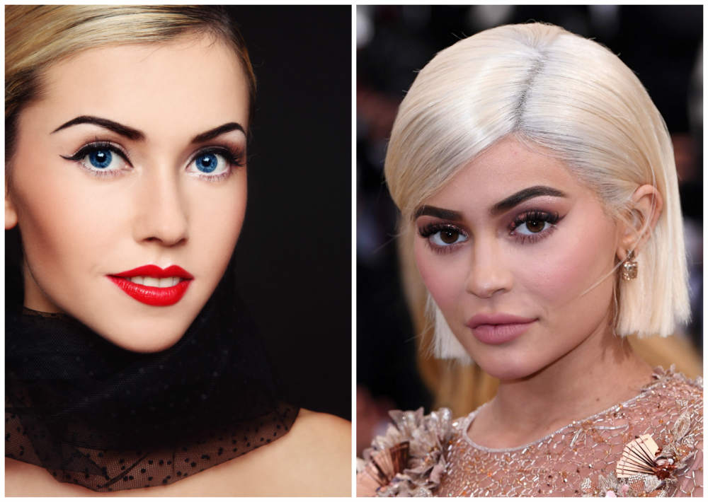 Форма бровей 2018 года, сочетание темных бровей и светлых волос