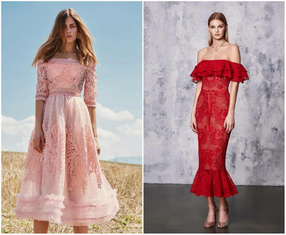 Разноцветные и женственные кружевные платья 2018 года для девушек