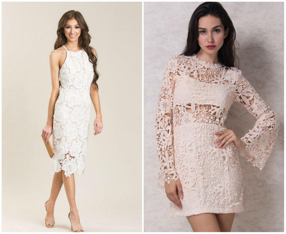 Белые торжественные и свадебные кружевные платья 2018 года