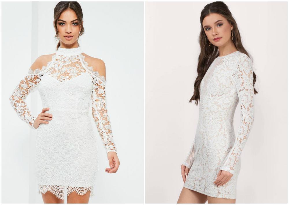 Короткие, красивые кружевные платья 2018 года сдлинными рукавами
