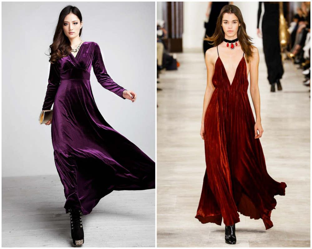 Бархатные платья 2018 года, свежие и трендовые подходы и идеи