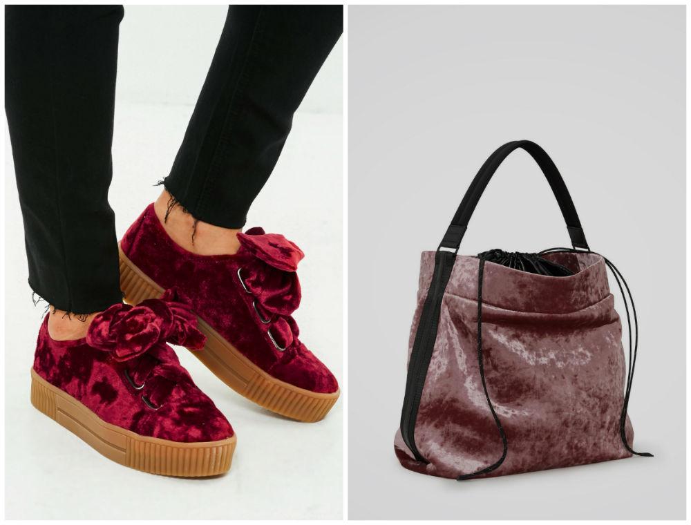 Бархатные платья 2018 года, трендовый стиль для обуви и сумок