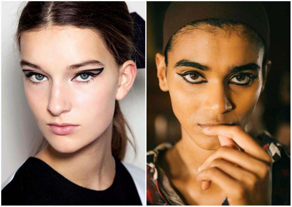 Необычный весенний макияж 2018 года, графическая подводка для глаз