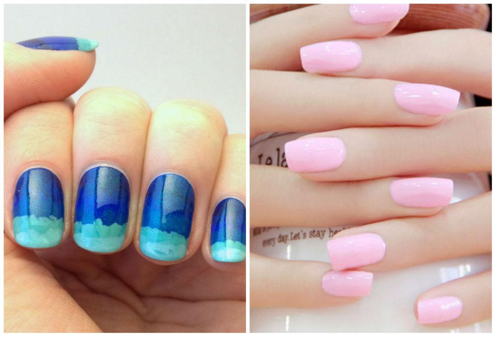 Самый свежий и красивый весенний дизайн ногтей в голубом и розовом оттенках