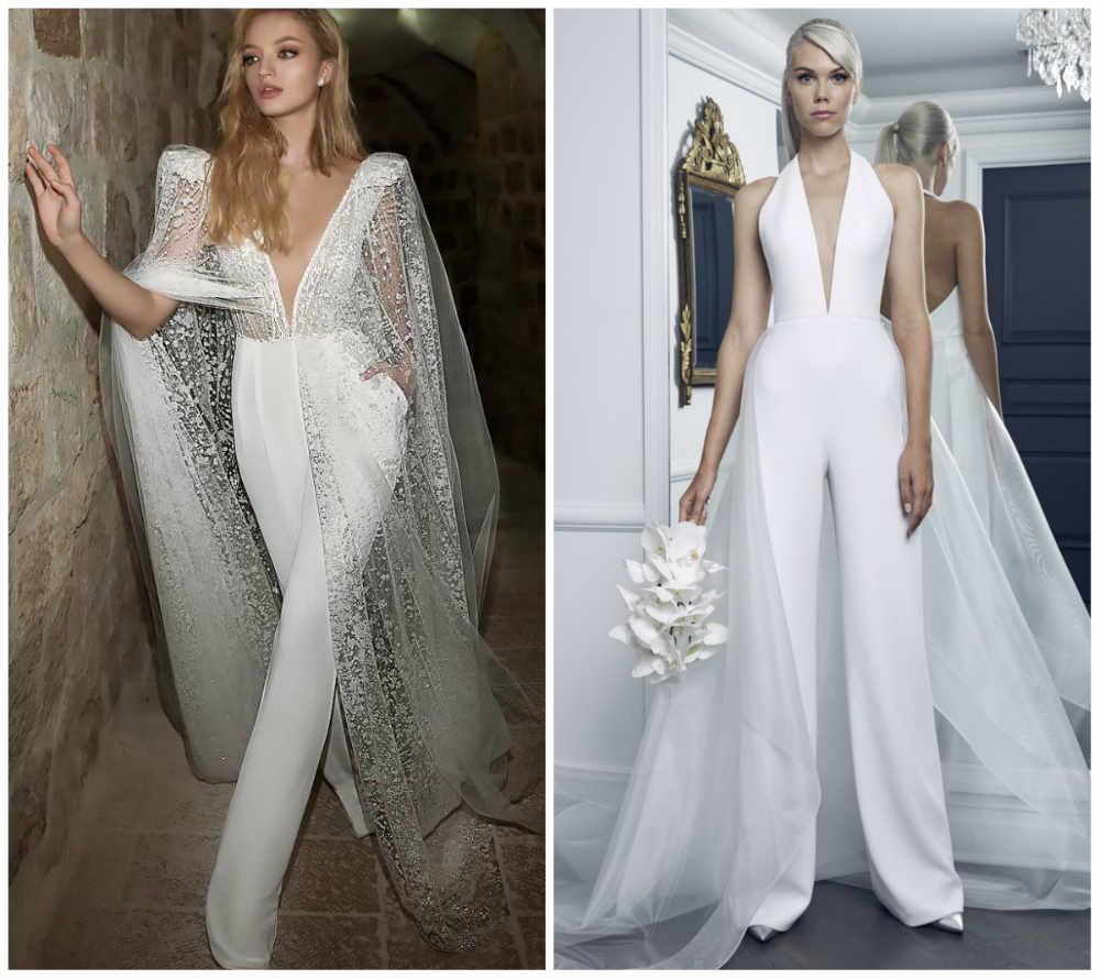 Модные и шикарные свадебные комбинезоны 2018 года для невест