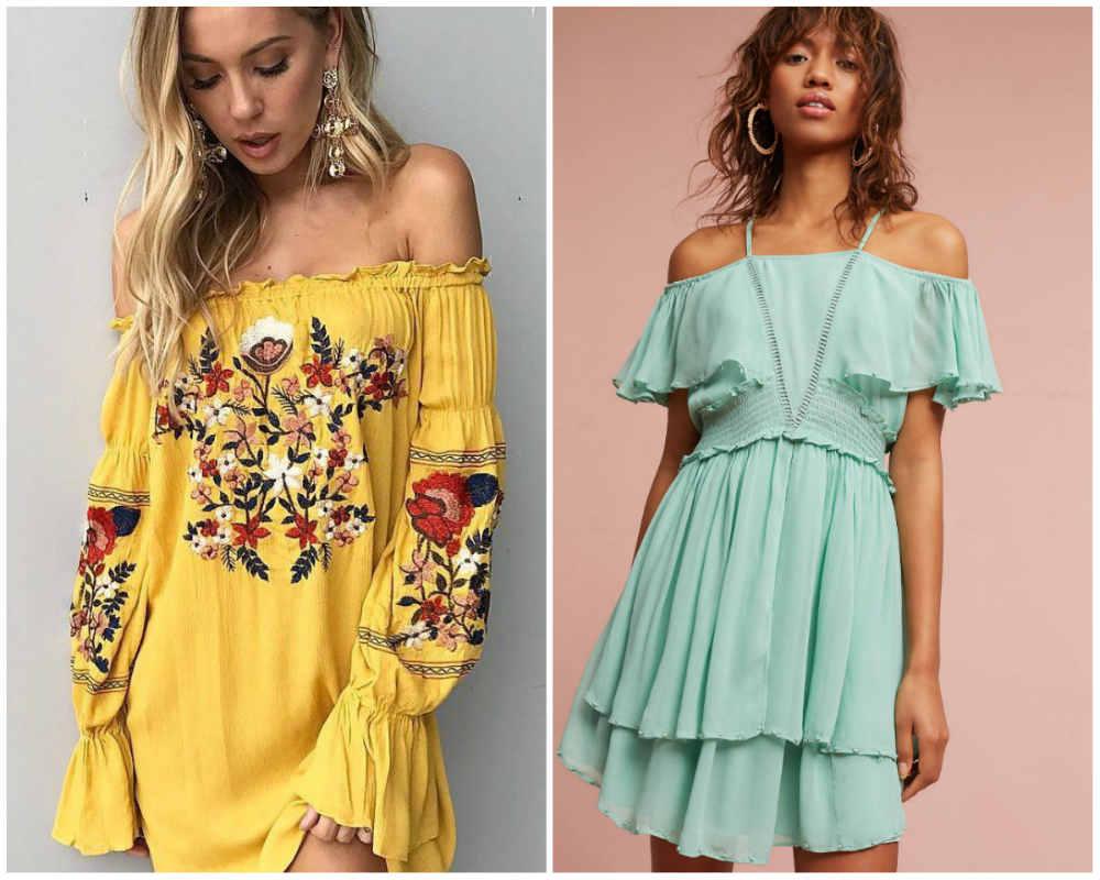 Фешенебельные летние платья 2020 года, платья с открытыми плечами