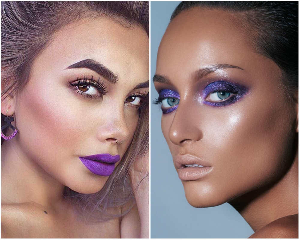 Фиолетовый модный макияж 2018 года, самый модный цвет макияжа