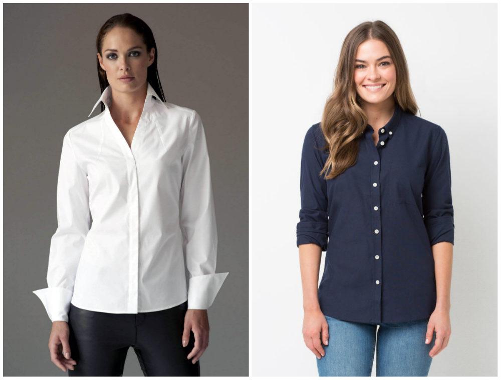 Белые и темно-синие модные женские рубашки 2018 года