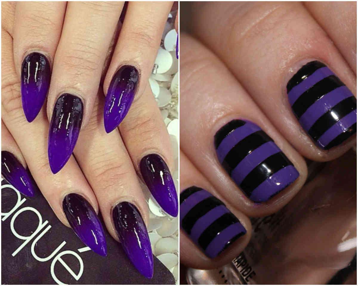 Крсивые ногти фиолетового цвета с узорами черного оттенка