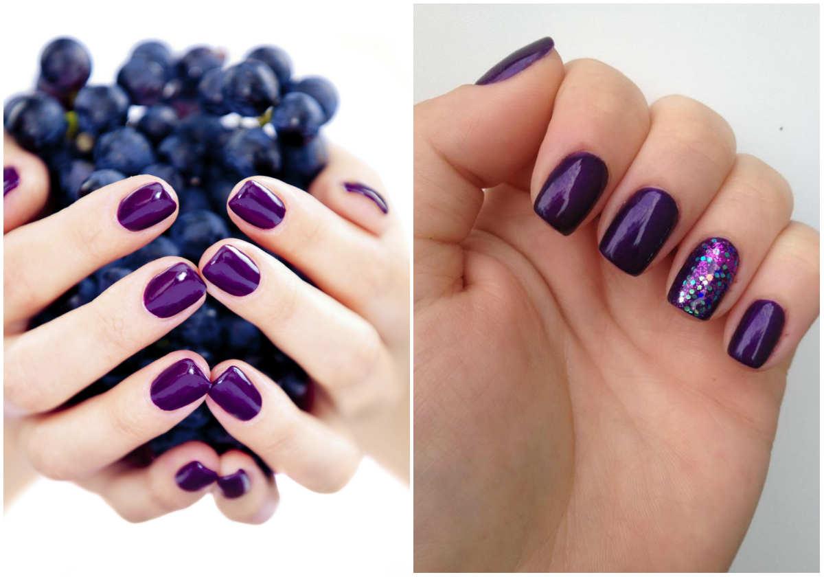 Ногти фиолетового цвета с модным отенком фиалки для модного маникюра