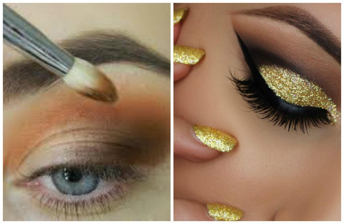 Вечерний макияж 2019, глаза с блестящими тенями