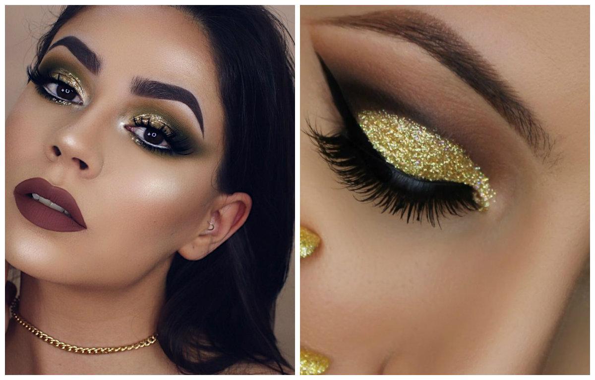 Модный макияж 2019, золотистые тени густой текстуры